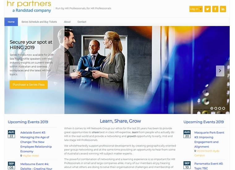 HR Network Group Home Page Example