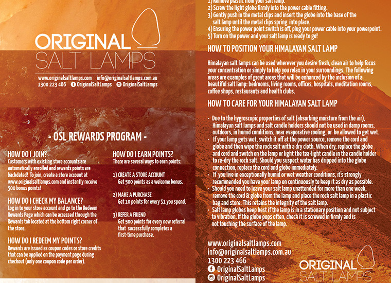 Original Salt Lamps Loyalty Rewards Card