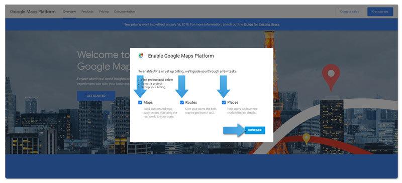 Google Maps API instruction step 2