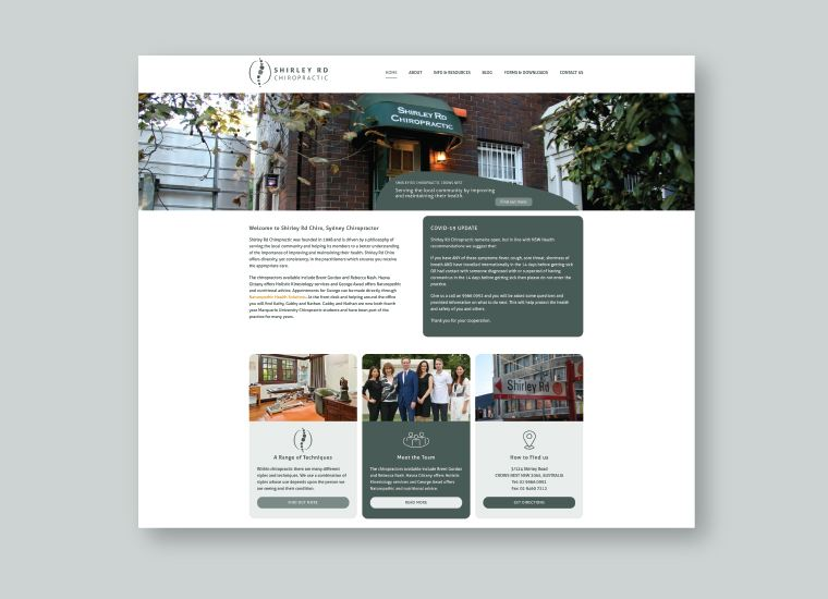 Shirley Rd Chiro Website Design