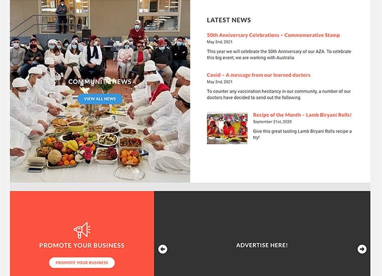 AZA screenshot of website news